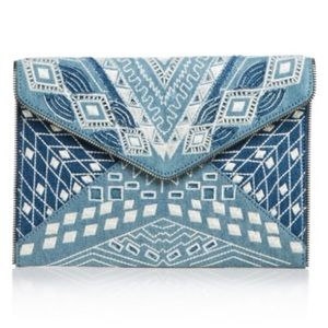 NWT Rebecca Minkoff Light Denim Clutch
